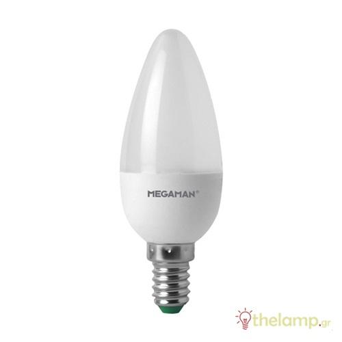 Led κερί B40 5.5W E14 240V warm white 2800K LC0405.5 Megaman