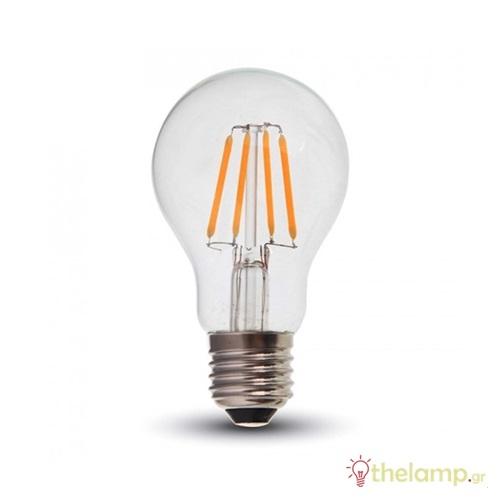 Led κοινή filament A60 4W E27 220-240V διάφανη warm white 3000K 4259 VT-1885 V-TAC