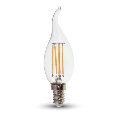 Led φλόγα κεριού filament B40 4W E14 240V διάφανο warm white 2700K 4302 VT-1997 V-TAC