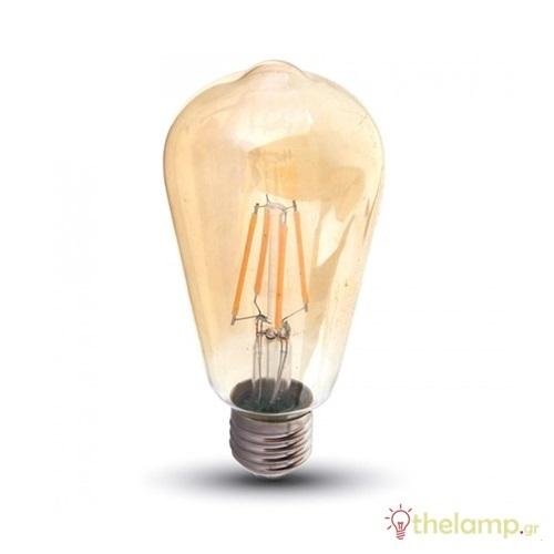 Led filament ST64 6W E27 240V διάφανη κεχριμπάρι warm white 2200K 4362 VT-1966 V-TAC