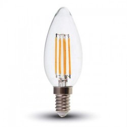 Led κερί filament B40 4W E14 240V διάφανο cool white 4000K 4413 VT-1986 V-TAC