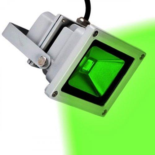 Προβολέας led 10W 230V πράσινο φώς ασημί/μαύρος