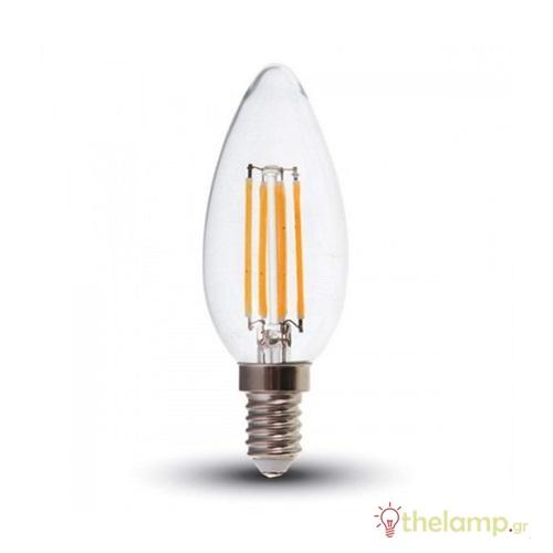 Led κερί filament B40 4W E14 240V διάφανο day light 6400K 4414 VT-1986 V-TAC