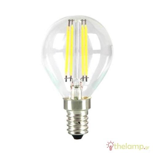Led γλομπάκι filament P45 4W E14 240V διάφανο day light 6400K 4426 VT-1996 V-TAC