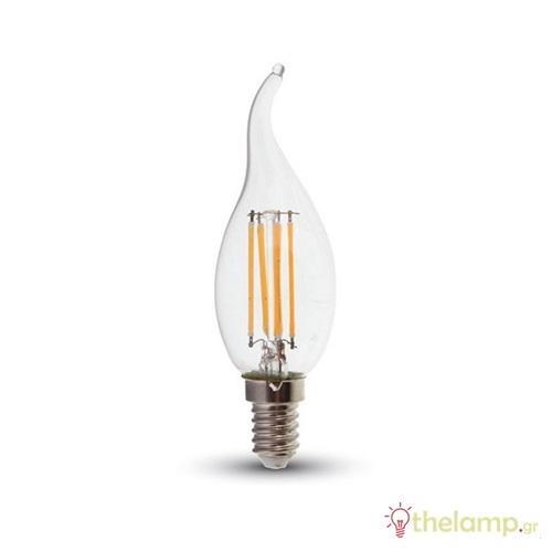 Led φλόγα κεριού filament B40 4W E14 240V διάφανο day light 6400K 4430 VT-1997 V-TAC