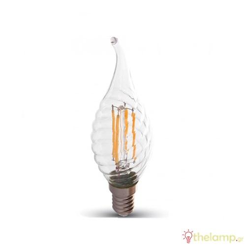 Led φλόγα κεριού filament B40 4W E14 240V διάφανο day light 6000K 4432 VT-1995 V-TAC