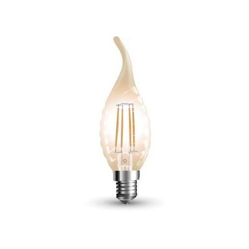 Led φλόγα κεριού filament twist B40 4W E14 240V διάφανο warm white 2700K 4308 VT-1995 V-TAC