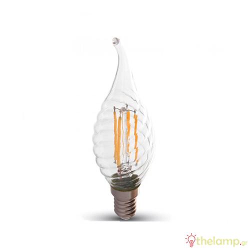 Led φλόγα κεριού filament B40 4W E14 240V διάφανο warm white 2700K 4308 VT-1995 V-TAC