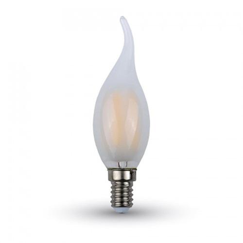 Led φλόγα κεριού filament B40 4W E14 240V frost cover cool white 4000K 4478 VT-1937 V-TAC