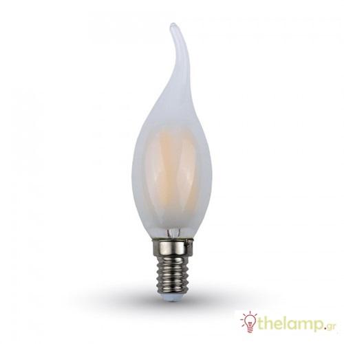 Led φλόγα κεριού filament B40 4W E14 240V frost cover day light 6400K 4479 VT-1937 V-TAC