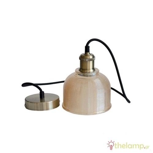 Φωτιστικό κρεμαστό γυάλινο κεχριμπάρι 3732 VT-7150 V-TAC
