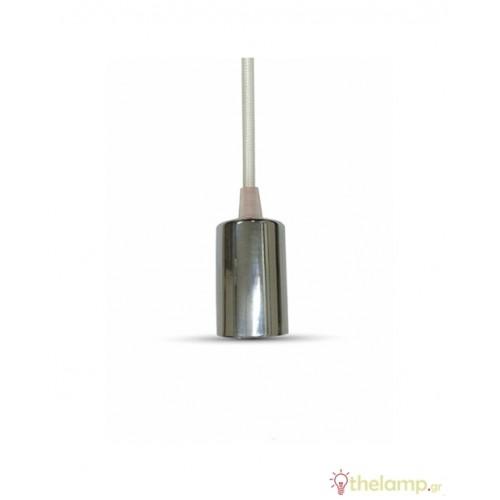 Ντουί chrome E27 με λευκό καλώδιο 1m 3755 VT-7338 V-TAC