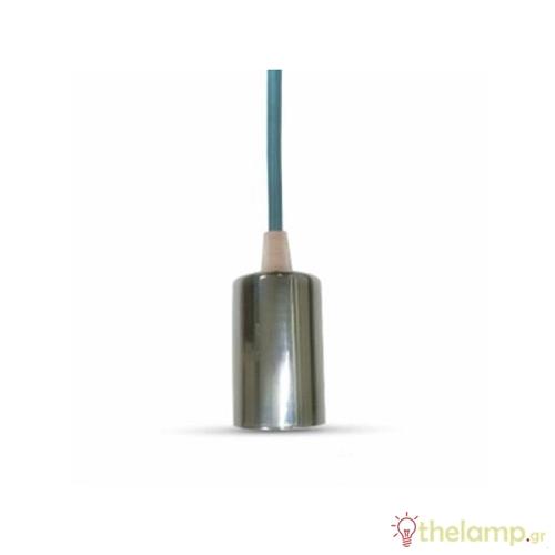 Ντουί chrome E27 με μπλέ καλώδιο 1m 3783 VT-7338 V-TAC