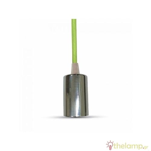 Ντουί chrome E27 με πράσινο καλώδιο 1m 3785 VT-7338 V-TAC