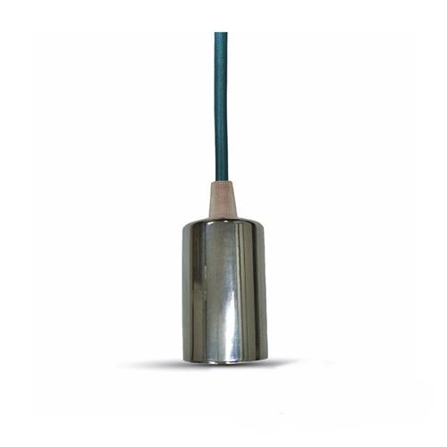 Ντουί chrome E27 με γαλάζιο καλώδιο 1m 3787 VT-7338 V-TAC