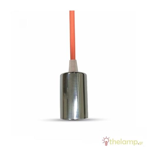 Ντουί chrome E27 με πορτοκαλί καλώδιο 1m 3788 VT-7338 V-TAC