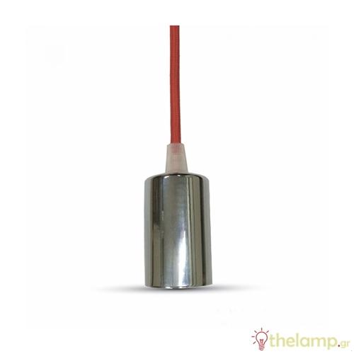 Ντουί chrome E27 με κόκκινο καλώδιο 1m 3791 VT-7338 V-TAC