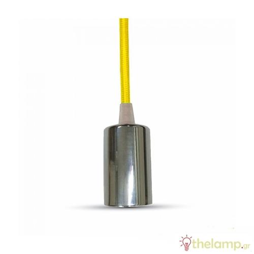 Ντουί chrome E27 με κίτρινο καλώδιο 1m 3793 VT-7338 V-TAC