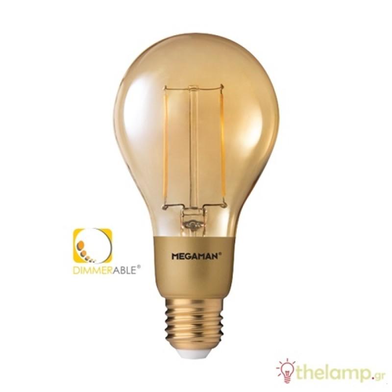 Led κοινή filament A70 3W E27 240V διάφανη κεχριμπάρι warm white 2200K dimmable LG6303dGD Megaman