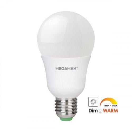 Led κοινή A65 10.5W E27 220-240V warm white 2800K Dim To Warm Megaman