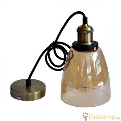 Φωτιστικό κρεμαστό γυάλινο κεχριμπάρι 3736 VT-7140 V-TAC