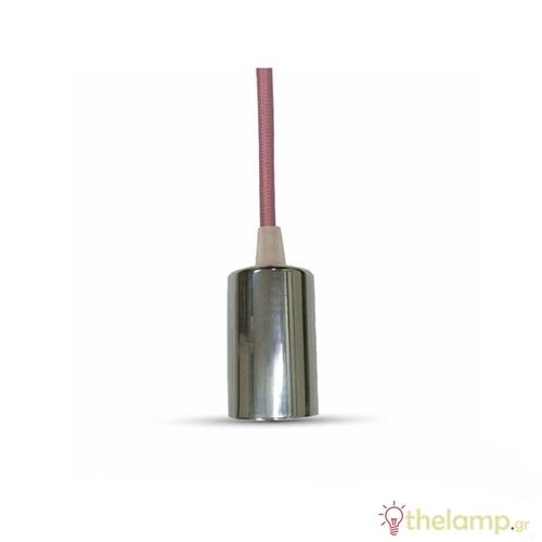 Ντουί chrome E27 με ροζ καλώδιο 1m 3789 VT-7338 V-TAC