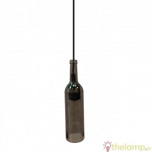 Φωτιστικό κρεμαστό γυάλινο γκρι μπουκάλι 3775 VT-7558 V-TAC