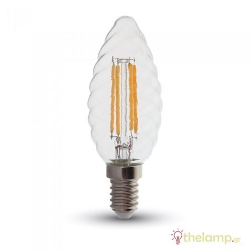 Led κερί filament twist B40 4W E14 240V διάφανο warm white 2700K 4307 VT-1985 V-TAC
