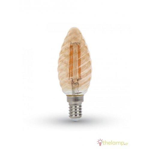 Led κερί filament twist B40 4W E14 240V διάφανο κεχριμπάρι warm white 2200K 7115 VT-1948 V-TAC