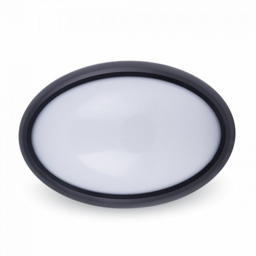 Πλαφονιέρα Led 8W 240V 110° warm white 3000K οβάλ μαύρη 1267 VT-8014 V-TAC