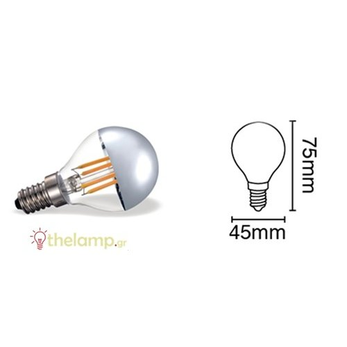 Led γλομπάκι P45 4W Е14 αντεστραμένου καθρέπτου ασημί warm white 2700K dimmable 05121/D/EI/ST/W
