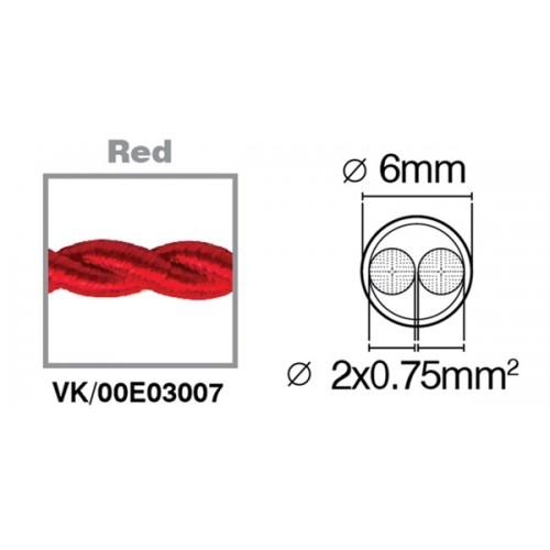 Καλώδιο υφασμάτινο πλεξούδα κόκκινο 2x0.75mm 00E03007