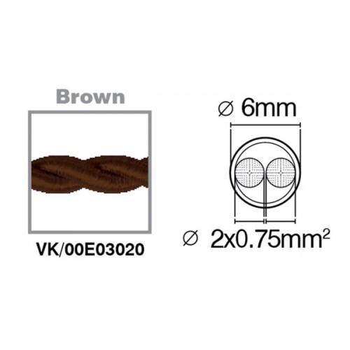 Καλώδιο υφασμάτινο πλεξούδα καφέ 2x0.75mm 00E03020