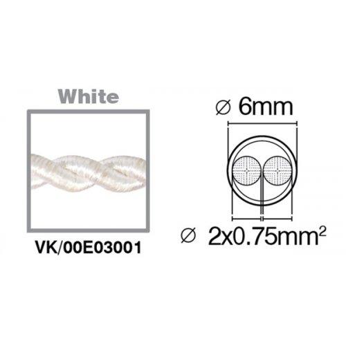 Καλώδιο υφασμάτινο πλεξούδα λευκό 2x0.75mm 00E03001