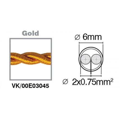 Καλώδιο υφασμάτινο πλεξούδα χρυσό 2x0.75mm 00E03045