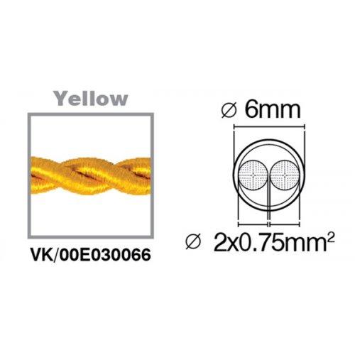 Καλώδιο υφασμάτινο πλεξούδα κίτρινο 2x0.75mm 00E030066