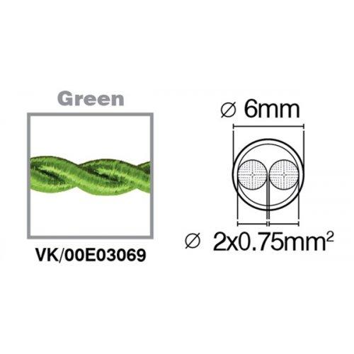 Καλώδιο υφασμάτινο πλεξούδα πράσινο 2x0.75mm 00E03069