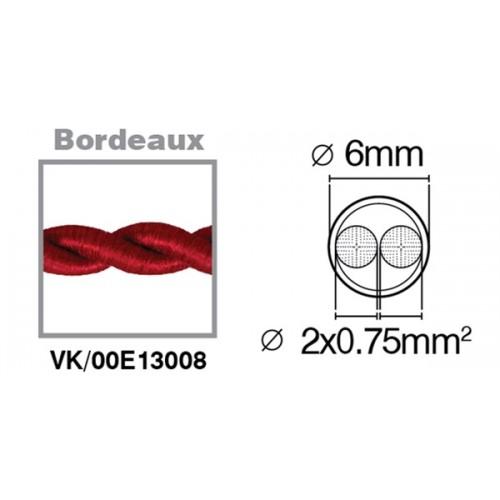 Καλώδιο υφασμάτινο πλεξούδα μπορντώ 2x0.75mm 00E13008