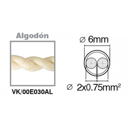 Καλώδιο υφασμάτινο πλεξούδα βαμβάκι 2x0.75mm 00E030AL