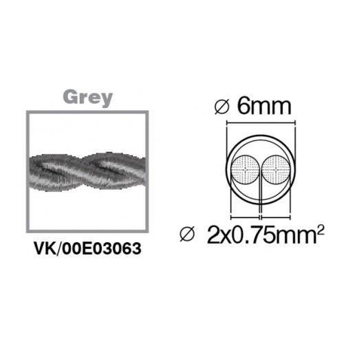 Καλώδιο υφασμάτινο πλεξούδα γκρι 2x0.75mm 00E03063