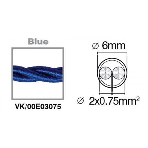 Καλώδιο υφασμάτινο πλεξούδα μπλέ 2x0.75mm 00E03075