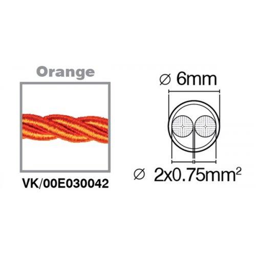 Καλώδιο υφασμάτινο πλεξούδα πορτοκαλί 2x0.75mm 00E030042