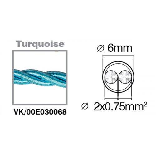 Καλώδιο υφασμάτινο πλεξούδα τιρκουάζ 2x0.75mm 00E030068