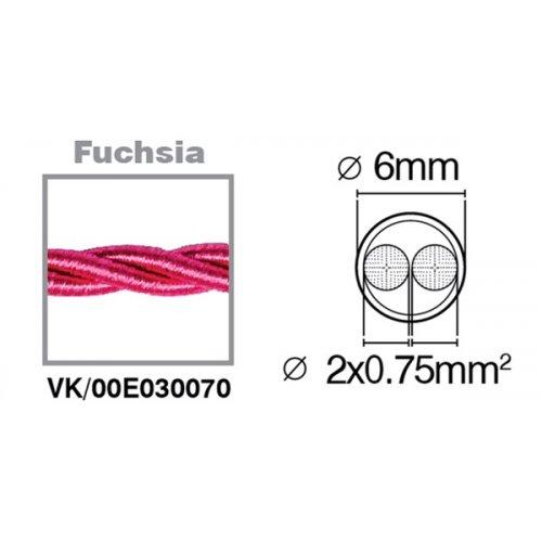 Καλώδιο υφασμάτινο πλεξούδα φούξια 2x0.75mm 00E030070