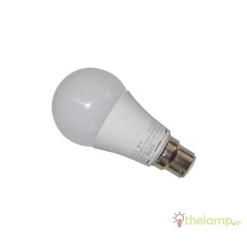Led κοινή A60 9W B22 180-265V warm white 3000K LedOn