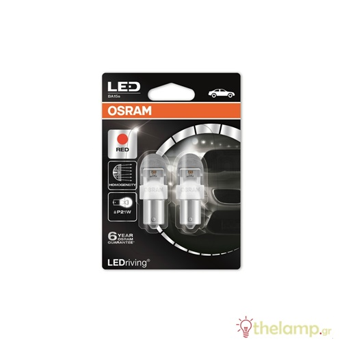 Osram 12V 2W BA15s P21W κόκκινο LEDriving Premium DUO blister 7556R-02B