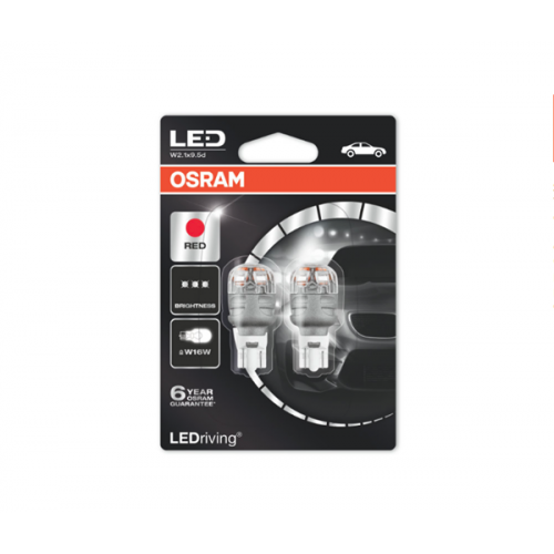 Osram Led 12V 2W W2.1x9.5d W16W κόκκινο LEDriving Premium DUO blister 9213R-02B