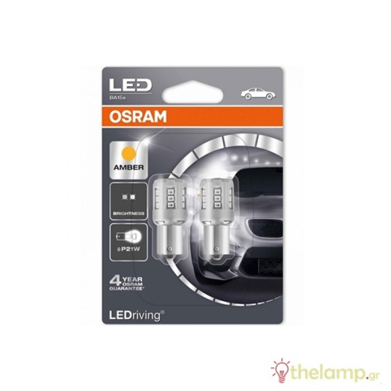 Osram Led 12V 1W BA15s P21W κίτρινο LEDriving Standard DUO blister 7456YE-02B