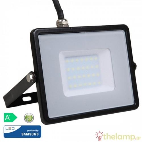 Προβολέας led 30W 230V 100° day light 6400K μαύρος Samsung chip 402 VT-30 V-TAC