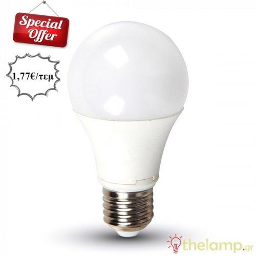 Led κοινή A60 9W E27 220-240V thermoplastic day light 6400K 7262 VT-2099 V-TAC